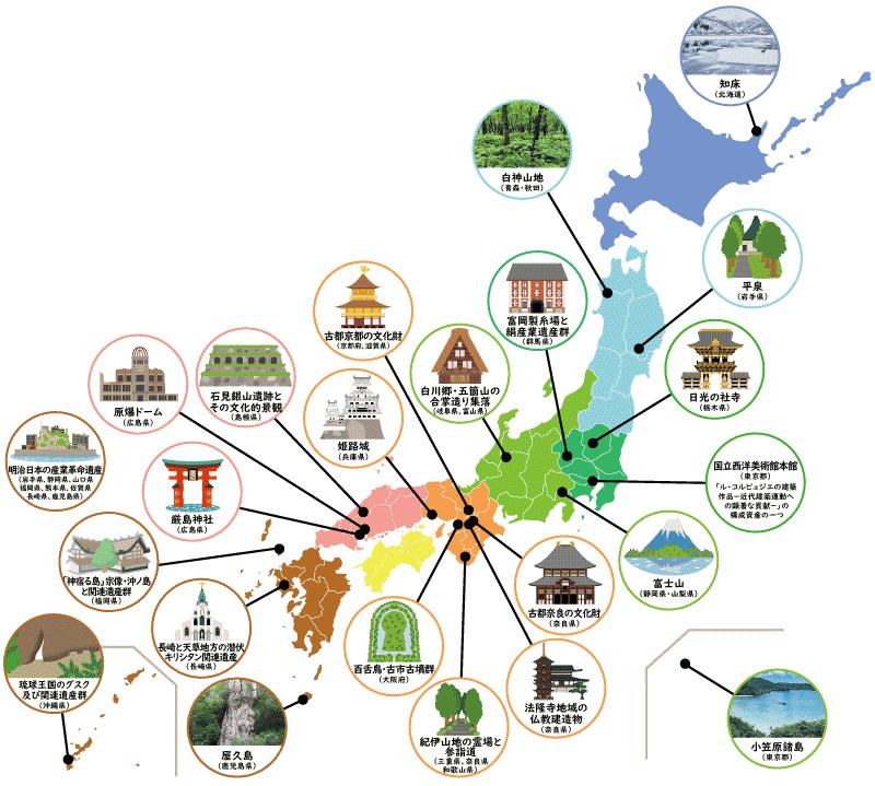 世界遺産の日本地図